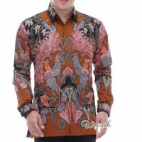 Kemeja batik tulis pria berlapis furing istimewa rav014 - Orange, M