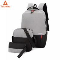 Techdoo Buy 1 Get 2 Tas Ransel Pria Laptop Backpack Anti Air USB Charg