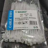 Kabel ties tis / sabuk tali Cable Masko 10 cm 2.5x100 mm hitam putih - Putih