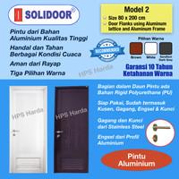 Pintu Aluminium Starmas Solidoor Model 2 (80 x 200 cm) utk Kamar Mandi