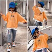 setelan hoodie swetear anak perempuan import dan jeans panjang 4-10th - orange set. 120