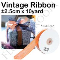 Vintage Ribbon Orange ±2.5cm x 10Yard - pita orange