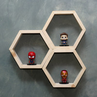 Ambalan / Rak / Hexagon Kayu / Hiasan Dinding Minimalis / Jati Belanda