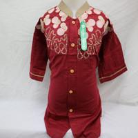 Promo Baju Koko Atasan Anak Laki - laki Lengan Pendek Pesantren Islam - Merah, 14-15 tahun