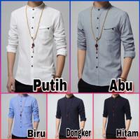 Kemeja pria pakaian koko muslim baju polos putih abu biru merah hitam