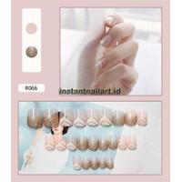R-066 Gold Glitter Wave Instant Nail Art Kuku Palsu Emas Mewah Cantik