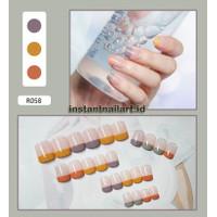 R-058 Colorful Pastel Tip Kuku Palsu Nail Art Cantik Fashion Wanita