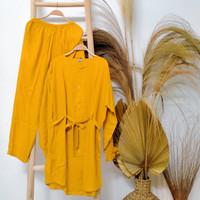Setelan Tunik Wanita Polos Setelan Tunik Muslim Rayon - Kuning