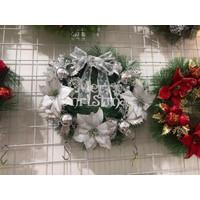 Hiasan Krans Natal Silver Poinsettia-Gantungan Dekorasi Dinding Natal