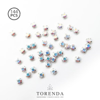144 PCS Torenda Rhodium Preciosa Montees Cangkang 16SS (Varian Warna)