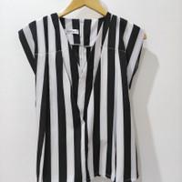 Jessie Blouse (Black n White Striped) V-neck