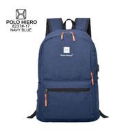 tas ransel unisex polo hiero 8237 backpack tas kerja tas kuliah murah - Hitam