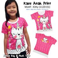 Kaos / T-Shirt Anak Perempuan Print (2 sisi) Nyaman dan Lembut