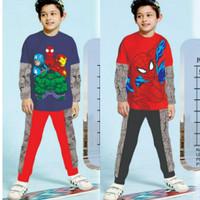 (5-10th) Setelan Piyama Anak Laki London Kids Superhero Panjang