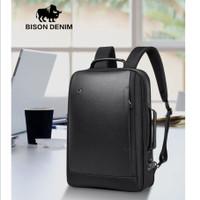 "Bison Denim-Tas Ransel / Backpack Laptop 17"" USB Waterproof (N2971-1B)"
