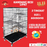 Kandang 3 tingkat Besi Tebal Lipat Size L 95x60x47 Kucing