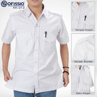 Kemeja Putih Seragam Kerja Ofissio Twill Katun Premium KK-013 - Putih, S