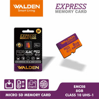 MICRO SD 8GB / 16GB / 32GB / 64GB WALDEN EXPRESS CLASS 10 MICROSD CARD - 8 gb