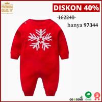 Jumpsuit Baby/Anak Bahan Knit / Rajut Spesial Natal Snow Berkualitas - 3-6 Bulan, Merah - Snow