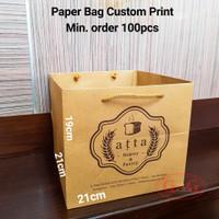 Paper Bag Custom Print Box Kotak Nasi / Cake Kue Roti / 21x21x19