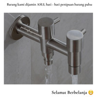 KERAN AIR KRAN CABANG DOUBLE TEMBOK STAINLESS STEEL SS 304 ANTI KARAT