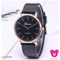 jam tangan geneva karet motif pasir-black