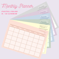 (6 lembar) Monthly Planner Pastel Color - Polos (A4)