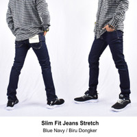 Celana Jeans Slim Fit Biru Dongker Navy Stretch Pria Original - S