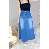 MYREDO - Rok Jeans Panjang Wanita Slit Jenifa 3049