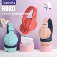 Fingertime Bobo Kids Headphone Bluetooth Wireless Wired Headphone Anak - Merah Muda