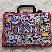 Tas Laptop EXO doodle Full Sablon 10-17 Inch Softcase Bag