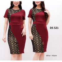 SEDS521 DRESS PESTA BRUKAT LACE MIDI SCUBA BODYCON SEPAN PREMIUM NATAL
