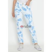 Celana Panjang Wanita Jeans Boyfriend Tie Dye Blue NonStretch-Fireweed