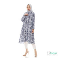 Atasan Muslim Wanita | Marble Long Tunik Abu | Tie Dye Rayon