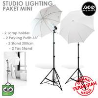 Paket Lampu Studio Mini Light Stand - Lamp Holder - Payung Transparant