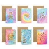 Paket isi 6 Kartu Ucapan / Birthday Card Harvest Rainbow Tie Dye