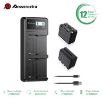 POWEREXTRA BATTERY SONY NP-F970 2 PACK WITH DUAL CHARGER USB TYPE C