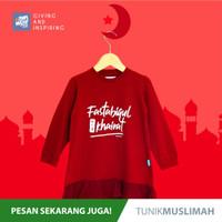 Pakaian Kaos Tunik Gamis Anak Perempuan cewe Series Muslimah Ammar Kid - S, Merah