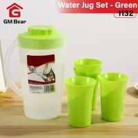GM Bear Teko Air Gelas Set Praktis Travel Cup 1132- Water Jug Green