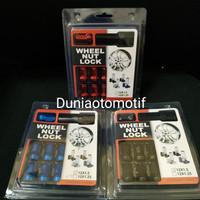 Mur Warna Racing Wheel Nut Lock ( 1 Set Isi 16 Pcs + 1 Kunci )