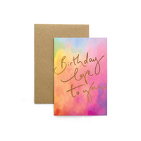 Kartu Ucapan / Birthday Card Harvest Rainbow Tie Dye - Love