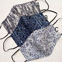 masker kain 3 lapis motif abstrak unik limited EARLOOP