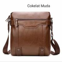 Tas Selempang Slempang Pria Kulit Premium/Sling Bag import LEINASEN - Cokelat Muda