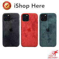 Casing Suede Leather Case Apple logo Hardcase iPhone 11 / 11 Pro Max - iPhone 11 Pro, Hitam