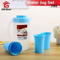 GM Bear Teko Gelas Set Plastik Cup 1182- Water Jug Blue