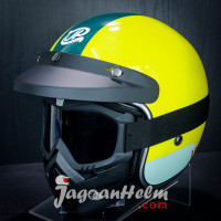 JPX HELM JP RETRO NEW BIGIE COMBIE |YELLOW LEMON GLOSSY| + GOGGLE MASK
