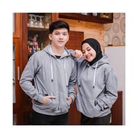 Jaket Couple pria wanita Murah | Sweater couple polos Murah - couple abu, allsize fit L