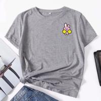 Kaos Distro Wanita Bahan Katun/Atasan wanita Motif Logo Emoji BTS - Abu-abu, M