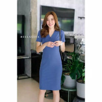 DRESS BELLACITA NILIN V NECK IMPORT BANGKOK PREMIUM