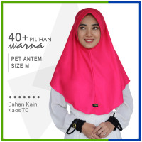 Jilbab Instan Pet Antem M / Hijab Kaos Bergo Anthem Size M